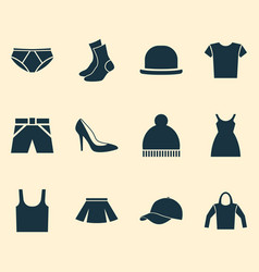 Dress icons set collection of stylish apparel vector