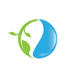 eco logo water drop with leaf envitrontment design vector image