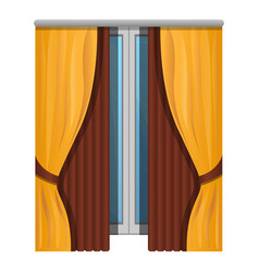 elegant window curtains icon cartoon style vector image