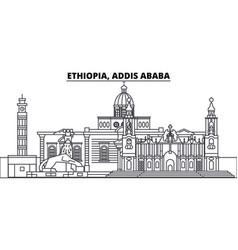 Ethiopia addis ababa line skyline vector