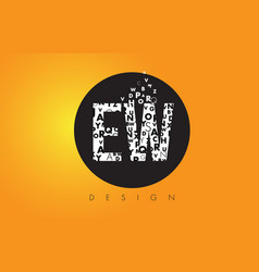 ew e w logo made of small letters with black vector image