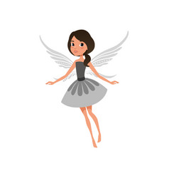 Fairy with big shiny eyes in flying action cute vector