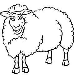 farm sheep cartoon for coloring book vector image