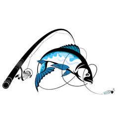 Fishing rod with reel and fish catch vector