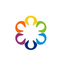 Flower star decorative logo template design vector
