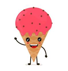 Funny happy cute happy smiling ice cream vector