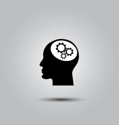 gear in head icon vector image