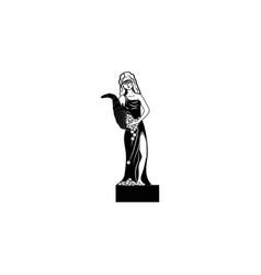 goddess fortune icon black on white background vector image