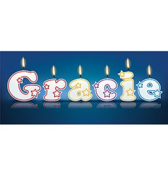 GRACIE written with burning candles vector