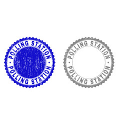 Grunge polling station textured stamp seals vector