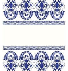 Gzhel style border pattern Blue porcelain russian vector image