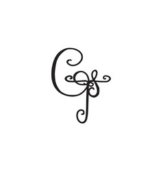 Handwritten monogram gt icon vector