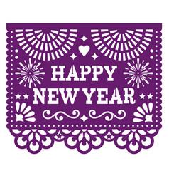 Happy new year papel picado design with vector