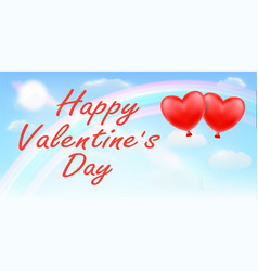 happy valentines day with rainbow sky vector image