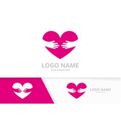 heart and embrace logo combination unique vector image
