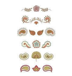 Hindustani ornament set vector image