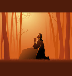 Jesus praying in gethsemane vector