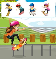 Kids playing skateboards in park vector image