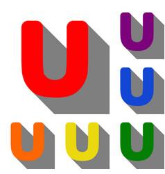 Letter u sign design template element set of red vector