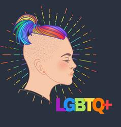 Lgbt person with rainbow hair non binary vector
