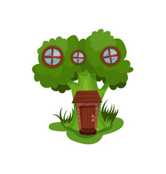 little fantasy house in form of green broccoli vector image