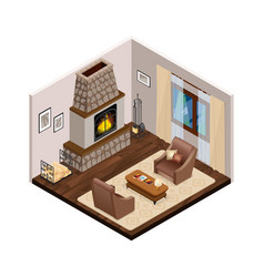 Lounge isometric interior with fireplace vector