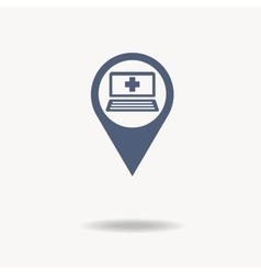 Map pointer flat icon with laptop icon inside and vector image