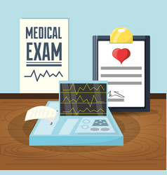 medical prescription to cardiac exam vector image