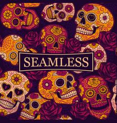 mexican sugar skulls seamless pattern vector image