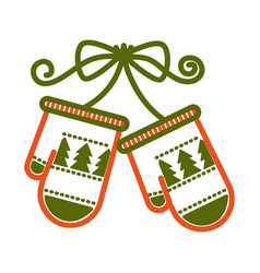 Mittens with pine evergreen christmas tree pattern vector