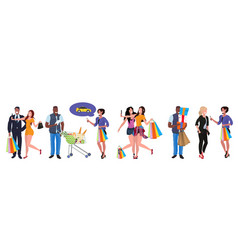 Mix race people with colorful shopping bags vector