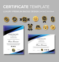 Modern blue certificate with badge vector