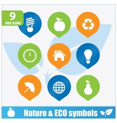 Nature ecology symbols set vector image