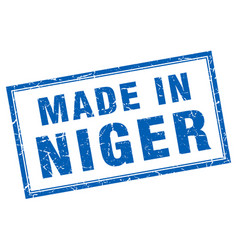 Niger blue square grunge made in stamp vector