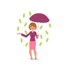office girl with umbrella under dollar rain vector image