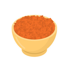 Red lentils in wooden bowl isolated groats in vector