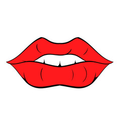 Red lips icon cartoon vector