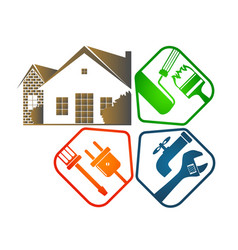 repair of housing with tools vector image