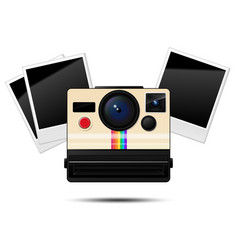 retro instant camera and blank photo frames vector image