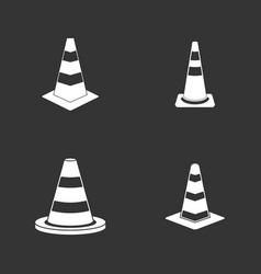 road cone icon set grey vector image