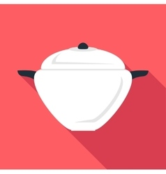 Round pan icon flat style vector