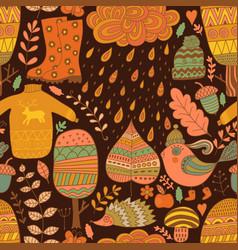Seamless pattern doodling autumn design vector