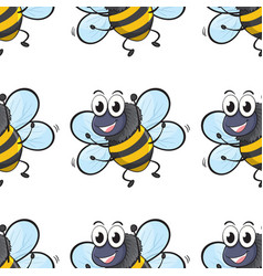 Seamless pattern tile cartoon with flies vector