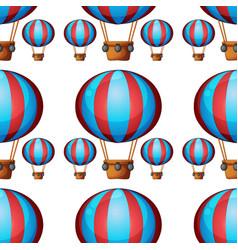 seamless pattern tile cartoon with hot air ballon vector image