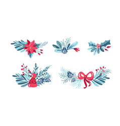 Set christmas floral bouquets with vector