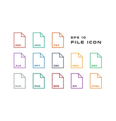 set document labels and file formats icons pdf vector image