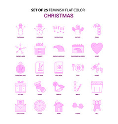 Set of 25 feminish christmas flat color pink icon vector