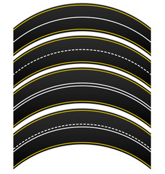 Set of 4 road highway roadway shapes dashed and vector
