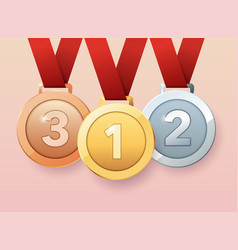 Set of gold silver and bronze medals flat design vector