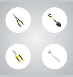 set of instruments realistic symbols with shear vector image